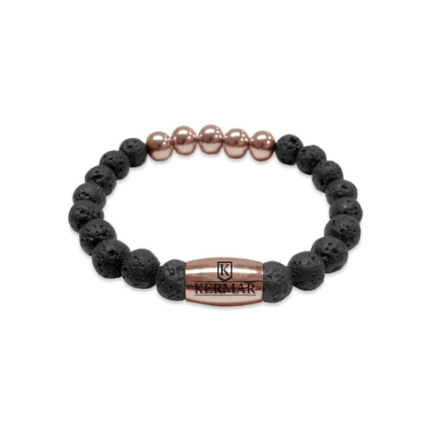 KERMAR Black Lavarock 8MM Bracelet with Stainless Steel 9MM Rose Accents/ Clasp (KM-0019)