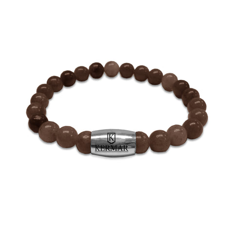 KERMAR Brown Facet Bracelet 8MM with Stainless Steel Clasp (KM-0025)