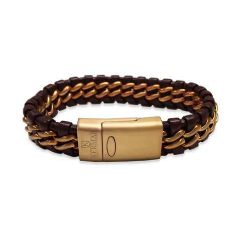 KERMAR Brown Braided Leather and Stainless Steel Bracelet with Rose Stainless Steel Clasp (KM-0031)