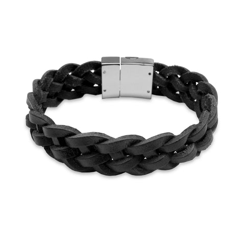 KERMAR Black Leather Braided Bracelet with Stainless Steel Clasp (KM-0033)