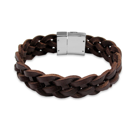 KERMAR Brown Leather Braided Bracelet with Stainless Steel Clasp (KM-0034)
