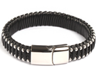 KERMAR - Black leather bracelet and Stainless Steel
