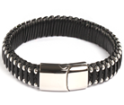 KERMAR - Brown leather bracelet and Stainless Steel