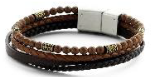 KERMAR - Brown leather bracelet and Stone
