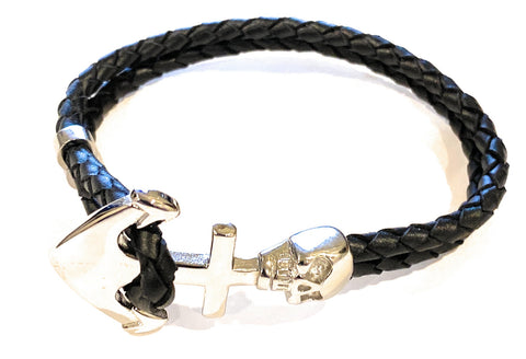 KERMAR Black Leather Bracelet with Stainless Steel Anchor with Skull Clasp (KM-0200)