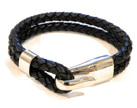 KERMAR Black Leather Bracelet with Hook Stainless Steel Clasp (KM-0201)