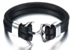 KERMAR Black Leather Bracelet with Anchor Stainless Steel Clasp (KM-0202)