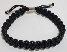 KERMAR Black Round Leather & Nylon Adjustable Bracelet (KM-0203-Black)
