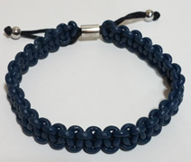 KERMAR Blue Round Leather & Nylon Adjustable Bracelet (KM-0203-Blue)