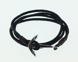 KERMAR Black Round Leather Bracelet with Stainless Steel Anchor Clasp (KM-0204)