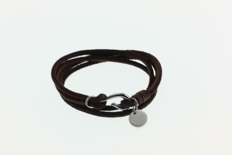 KERMAR Black Round Leather Bracelet with Stainless Steel Hook Clasp (KM-0205)