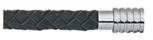 KERMAR - Black leather bracelet with Steel clasp (KM-1130)