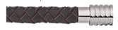 KERMAR - Dark Brown leather Necklace with Steel clasp (KM-1131)