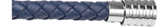 KERMAR - Blue leather bracelet with Steel clasp (KM-1144)