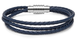 KERMAR - Triple Blue leather bracelet with Steel clasp (KM-1158)