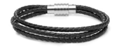 KERMAR - Triple Black leather bracelet with Steel clasp (KM-1159)