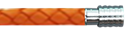 KERMAR - Orange leather bracelet with Steel clasp (KM-1176)- Mens steel bracelet