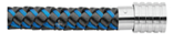 KERMAR - Black leather and Blue steel leather bracelet with Steel clasp (KM-1224)