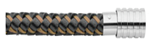 KERMAR - Brown leather and Brown steel leather bracelet with Steel clasp (KM-1225)