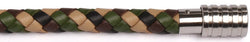 KERMAR - CAMO leather bracelet with Steel clasp (KM-1226)