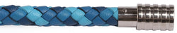 KERMAR - Blue CAMO leather bracelet with Steel clasp (KM-1227)
