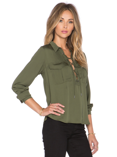Sleek Army Green Silk Top