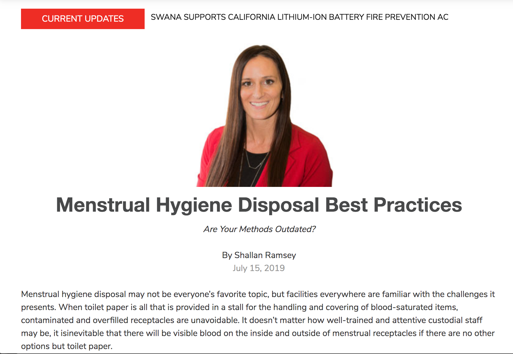 Article - Best Practice for Menstrual Hygiene Disposal