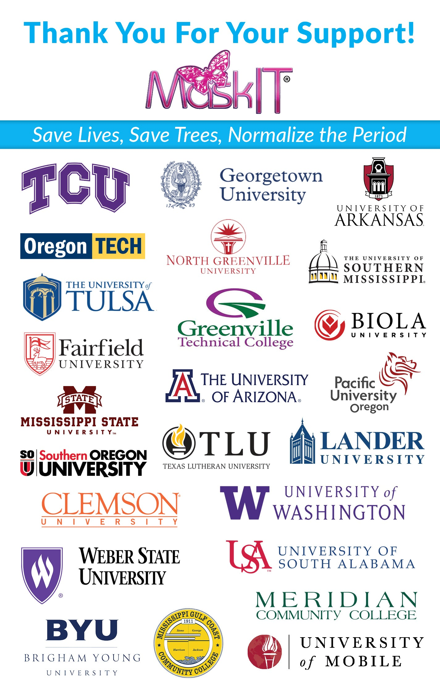 Thank you to all the Universities that have fully or partially implemented MaskIT!