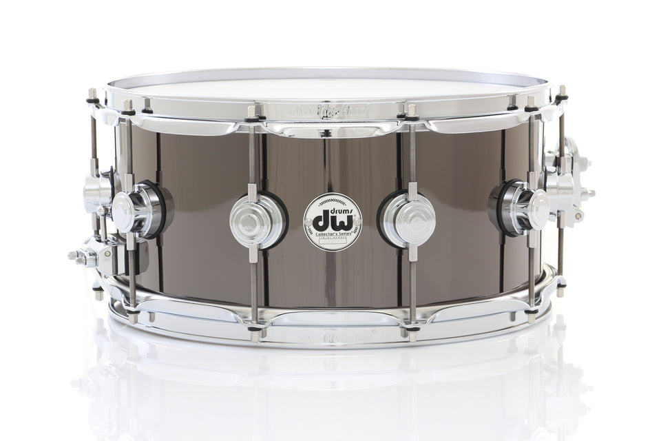 "DW 14"" x 5.5"" Collector's Metal Snare Drum - Black Nickel Over Brass Chrome Hardware"