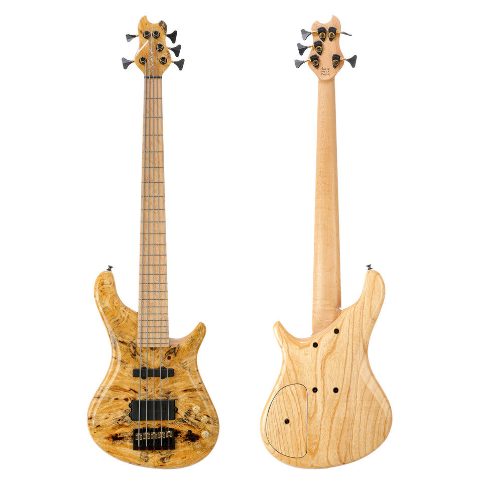 Brubaker NBS-5 Custom Burl Top 5-String Electric Bass - Natural Burl