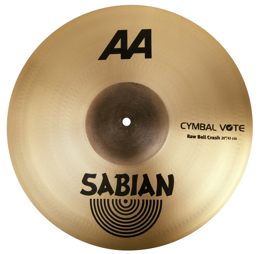 "Sabian 20"" AA Raw Bell Crash Cymbal Brilliant Finish"