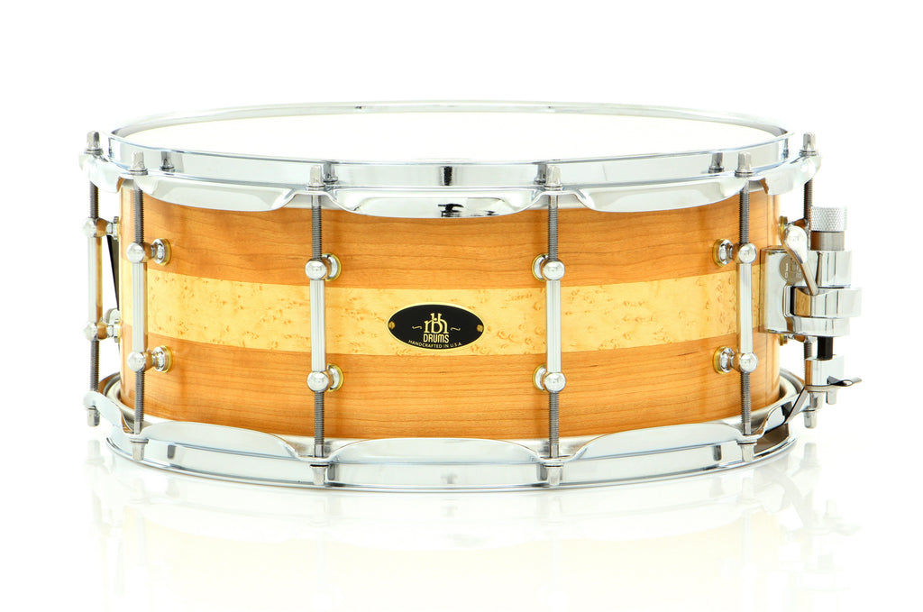 "RBH Drums 14"" x 6"" MONARCH Snare Drum Cherry With Birdseye Maple Inlay"