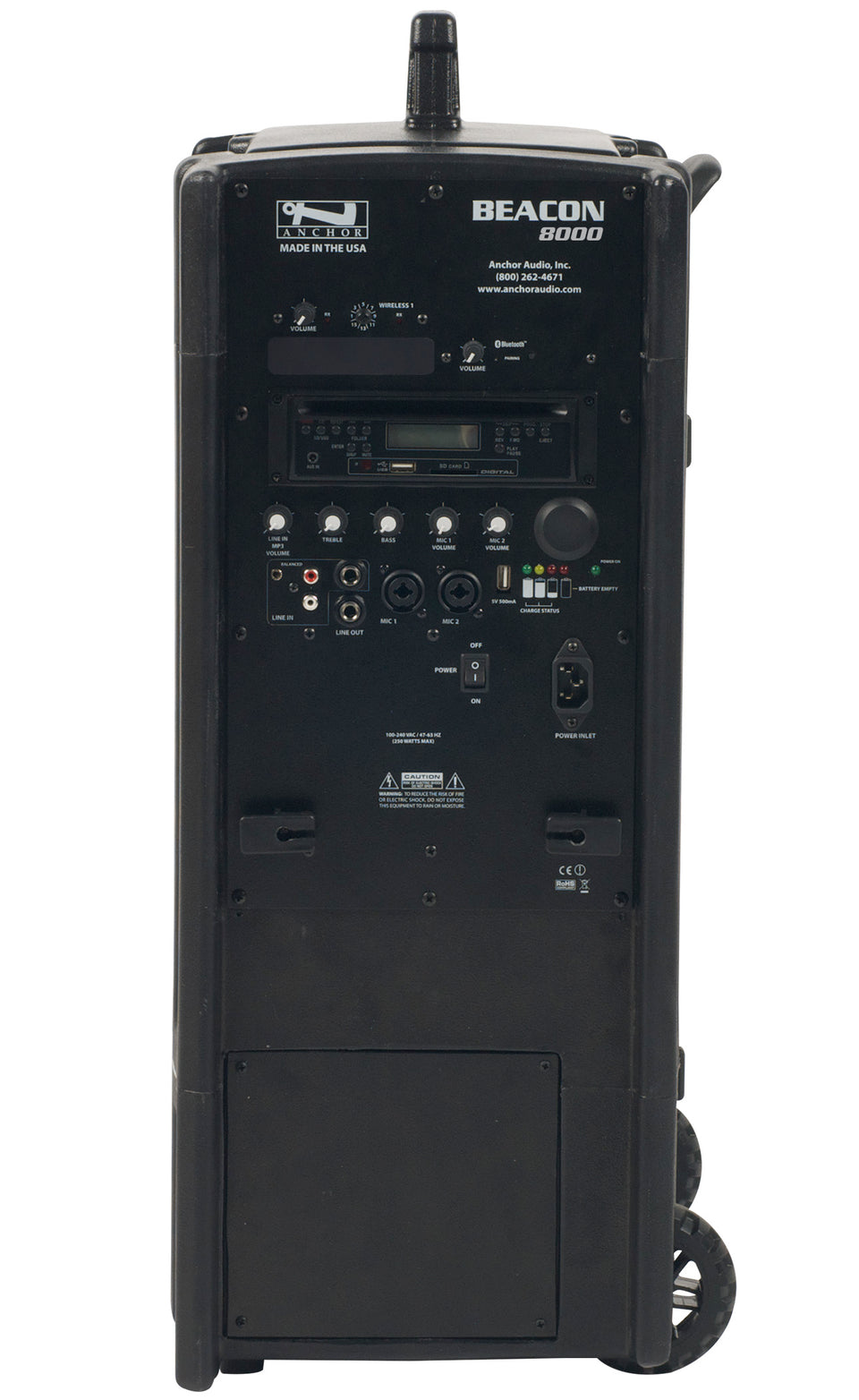 Anchor Audio Beacon Line Array System with built-in Bluetooth, CD/MP3 combo player, and two wireless receivers