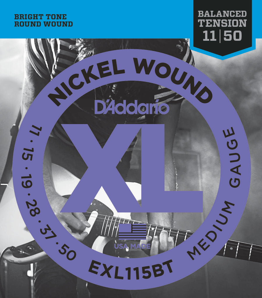 D'addario  EXL115BT Nickel Wound Electric Guitar Strings, Balanced Tension Medium, 18568