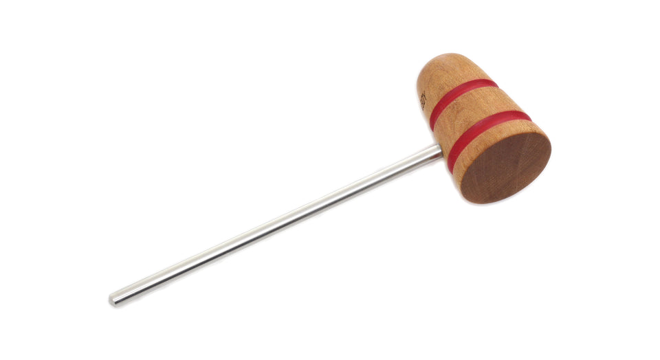 Low Boy Standard Wood Bass Drum Beater - Natural Maple Red Stripes