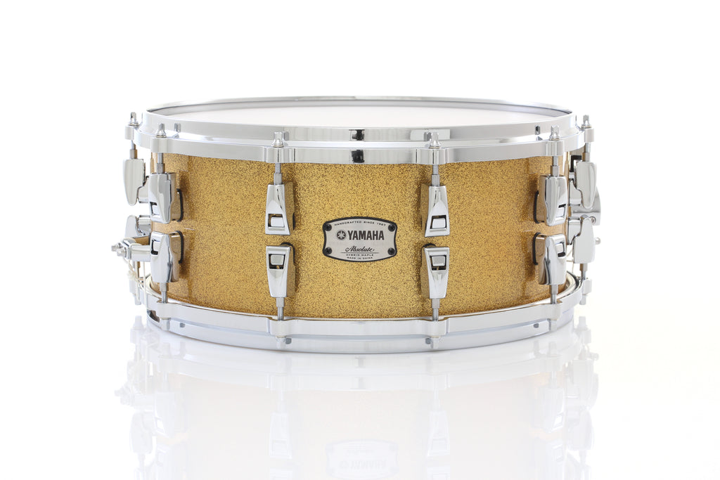 "Yamaha 14"" x 6"" Absolute Hybrid Maple Snare Drum - Champagne Gold Sparkle"