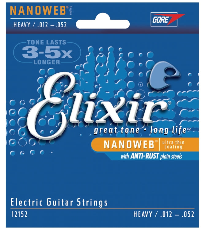 Elixir 12152 Nanoweb Coated Electric Guitar Strings With Anti-Rust, Heavy (12 - 52)