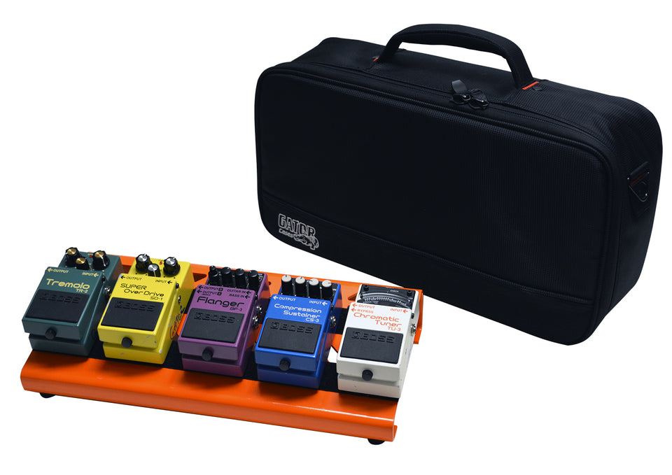 Gator GPB-LAK-OR British Orange Small Aluminum Pedal Board With Gator Carry Bag And Bottom Mounting Power Supply Bracket