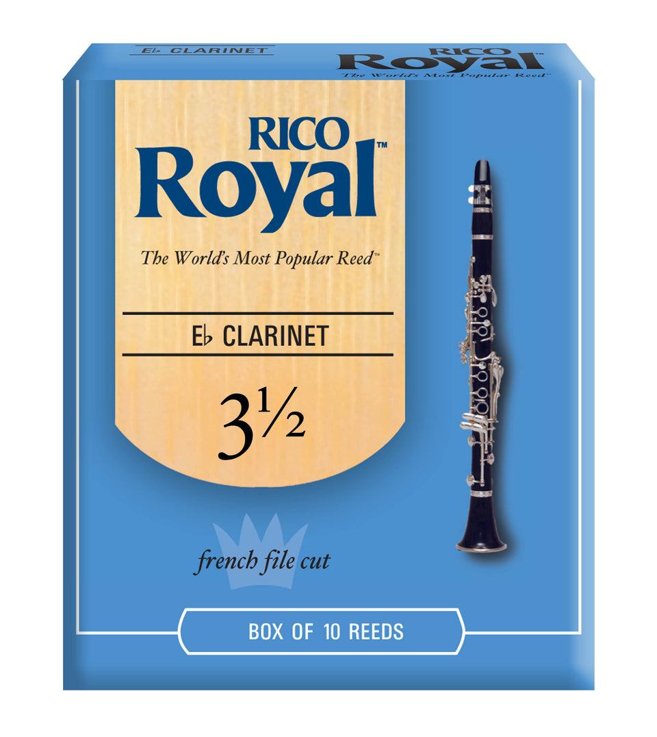 Ddaddario Woodwinds RBB1035 Rico Royal B-Flat Clarinet Reeds, Strength 3.5, 10-pack