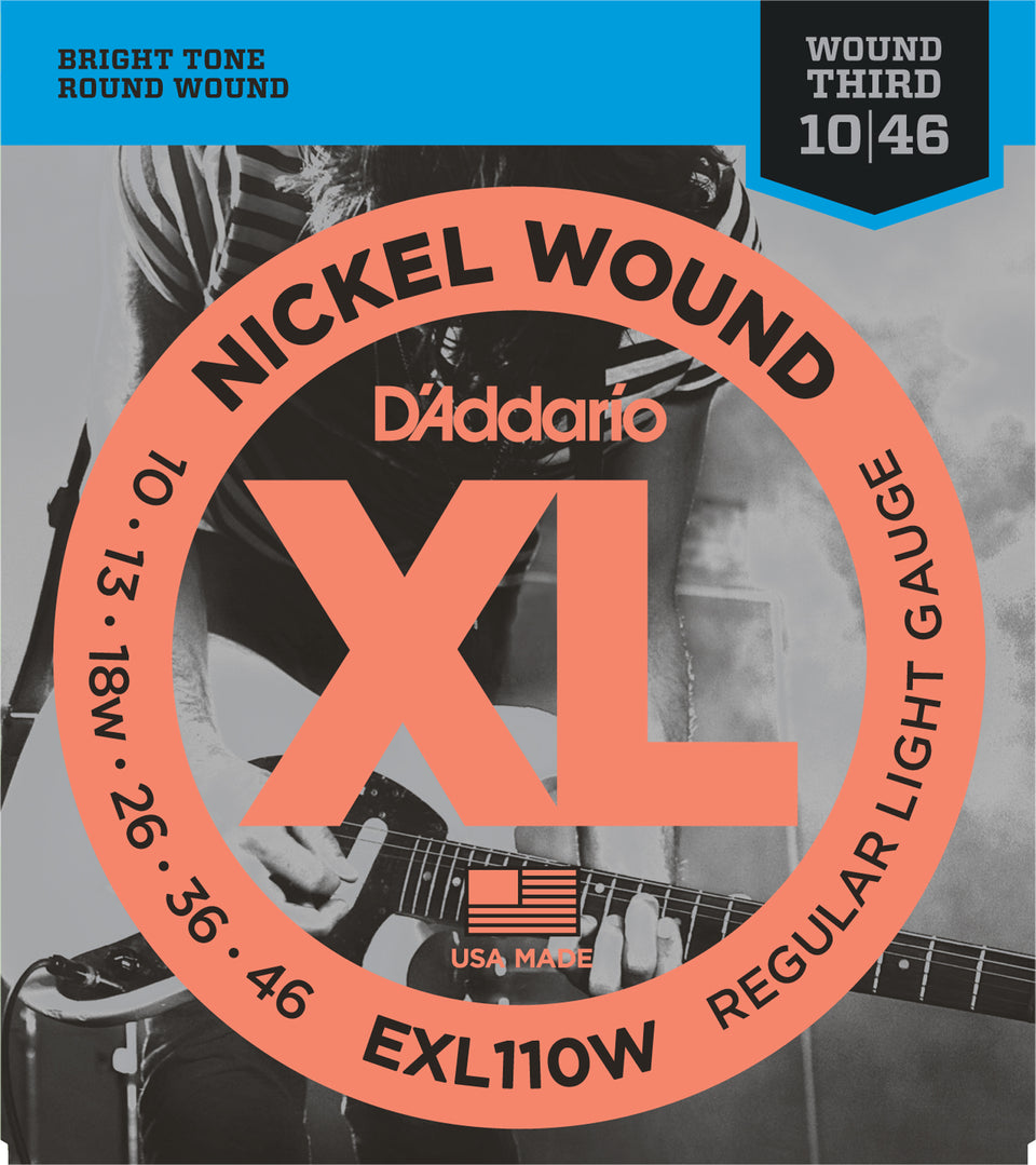 D'addario  EXL110W Nickel Wound Electric Guitar Strings, Regular Light, Wound 3rd, 17076