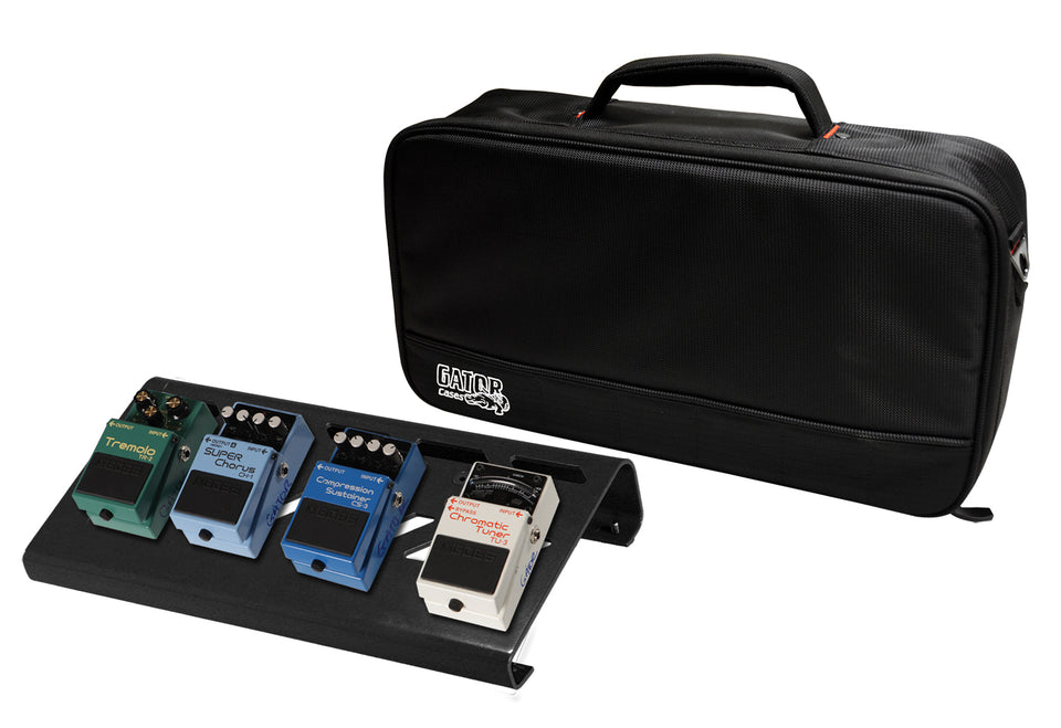 Gator GPB-LAK-1 Black Small Aluminum Pedal Board With Gator Carry Bag And Bottom Mounting Power Supply Bracket
