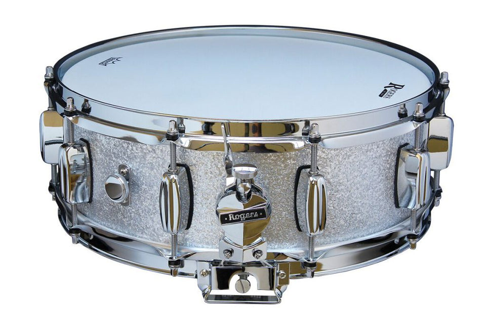"Rogers 14"" x 5"" Dyna-Sonic Wood Shell Snare Drum - Silver Sparkle"