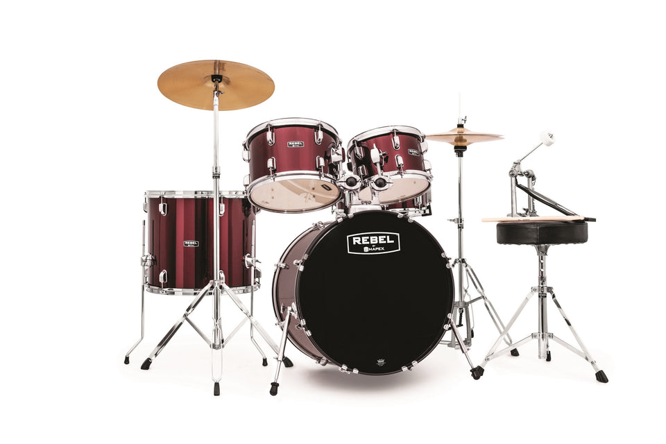 "Mapex Rebel 5-Piece Jazz Complete Drum Set 20"" Kick"