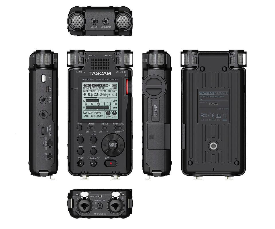Tascam DR-100 MKIII Rechargable Handheld Recorder with XLR Inputs