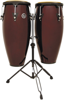"LP LPA646-DW Aspire Wood 10"" And 11"" Conga Set With Double Stand, Dark Wood/Black"
