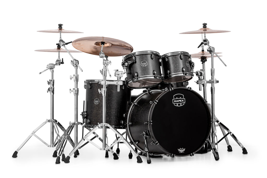Mapex Saturn V MH Exotic Rock 4 Piece Drum Set Shell Pack - Flat Black Maple Burl