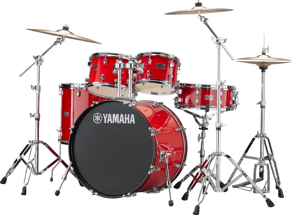 "Yamaha Rydeen 22"" Kick 5 Piece Shell Pack w/ Hardware And Cymbals - Hot Red"