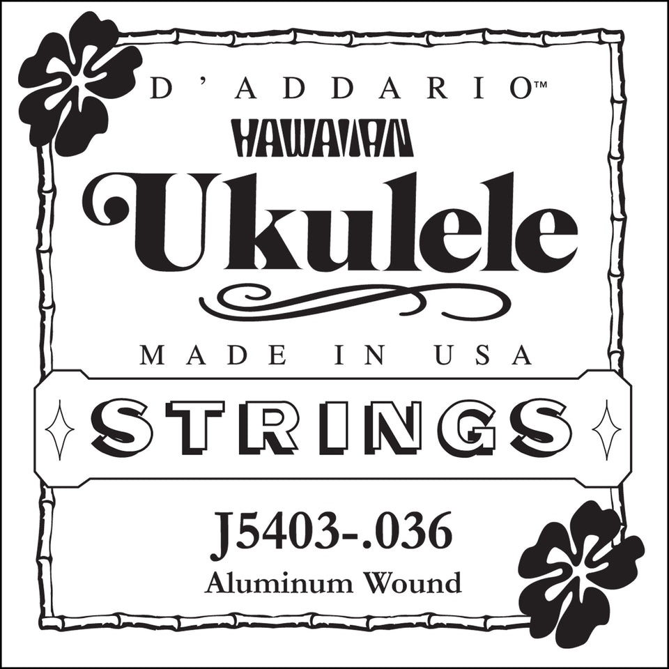 D'addario Fretted J5403 Aluminum Wound Tenor Ukulele Single String, Third String, 0.036