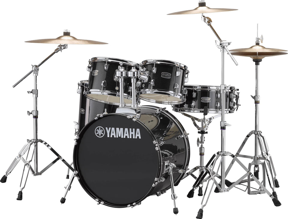 "Yamaha Rydeen 20"" Kick 5 Piece Shell Pack w/ Hardware And Cymbals - Black Glitter"