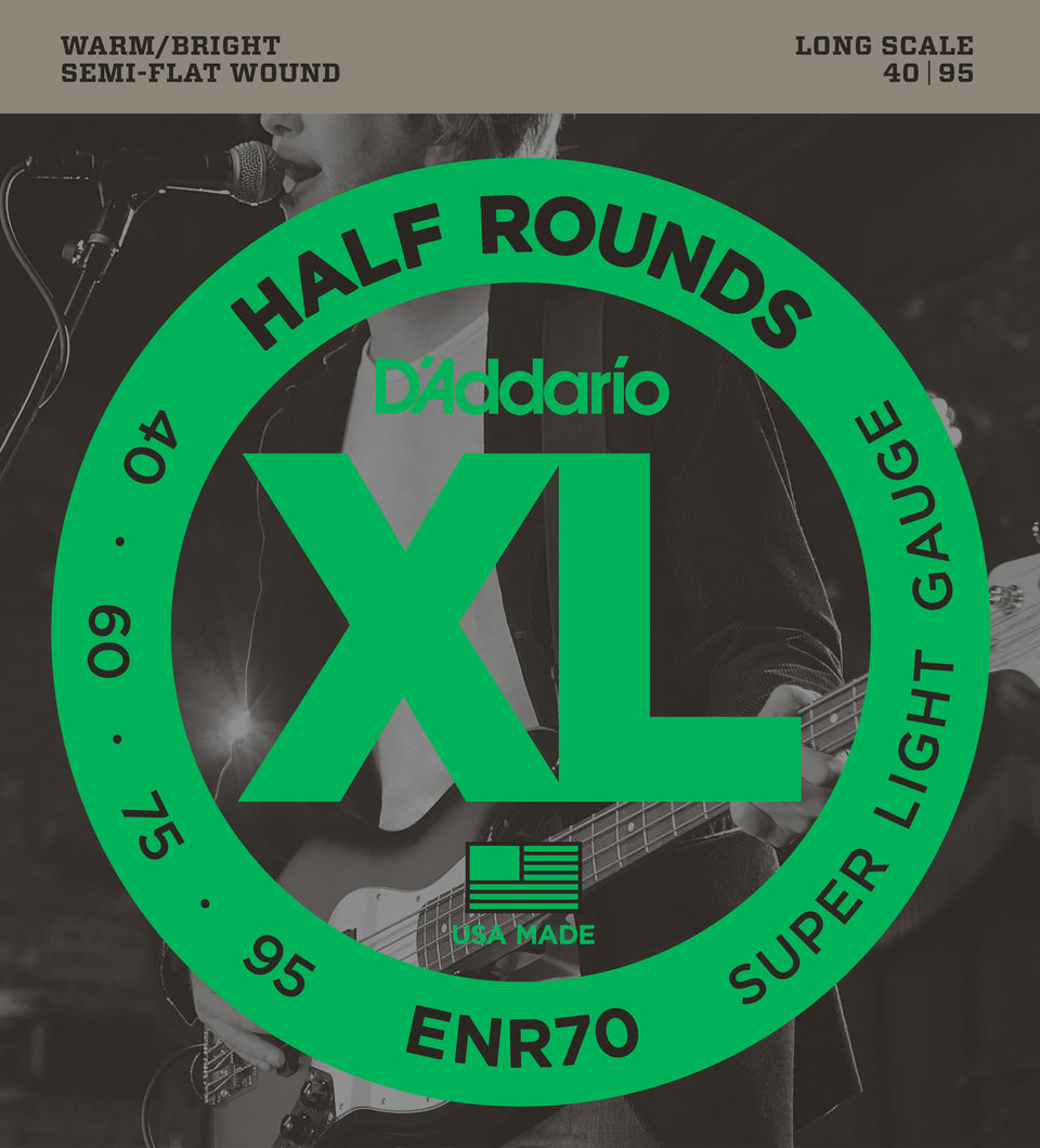 D'addario  ENR70 Half Round Bass Guitar Strings, Super Light, 40-95, Long Scale